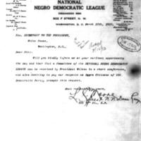 LC Moore, National Negro Democratic League to Joseph P. Tumulty