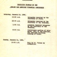 Tentative Program of the Second Pan American Financial Conference