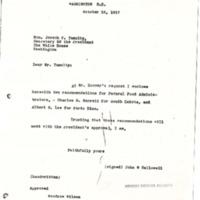 John W. Hallowell to Joseph P. Tumulty
