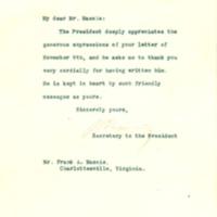 Joseph P. Tumulty to Frank Massie