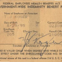 Insurance Card – Aetna Casualty and Surety: Thomas J. Koger
