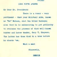 Bernard M. Baruch to Franklin D. Roosevelt