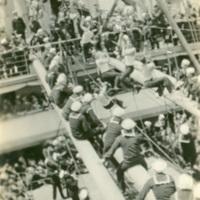 Sailors Climbing Rigging on the USS George Washington
