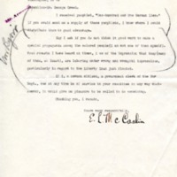 EL McCaslin to George Edward Creel