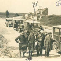 Edward D. Shoor with Soldiers and Automobiles on Tour of Belgium