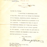 Warren G. Harding to Benjamin Strong Jr.