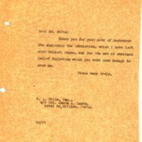 Benjamin Strong Jr. to GA White on Behalf of Colonel James A. Logan