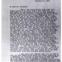 Elizabeth Bass to Woodrow Wilson