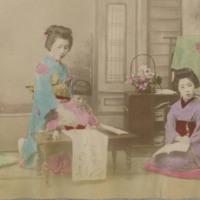 Woman Teaching Two Children Calligraphy
