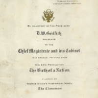 """DW Griffith Presents """"The Birth of a Nation"""""""