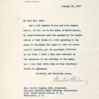 Woodrow Wilson to Carrie Chapman Catt