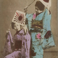 Two Women in Kimonos with Japanese Flags