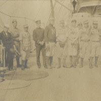USS Brooklyn Baseball Team with Dog